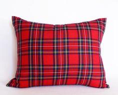 Red Tartan Plaid Pillow,  12x18, 14x18, 14x20, Lumbar Pillows, Red Blue White, Cushion Covers, Lodge Decor by PillowThrowDecor on Etsy https://www.etsy.com/listing/167313382/red-tartan-plaid-pillow-12x18-14x18