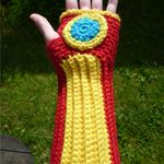Crochet Iron Man hand warmers. Cute!