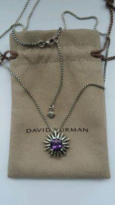 David Yurman sterling silver Starburst Pendant Necklace with amethyst - http://designerjewelrygalleria.com/david-yurman/david-yurman-sterling-silver-starburst-pendant-necklace-with-amethyst/