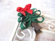 Christmas Tree hair clip Holiday hair bow clip Christmas Tree clippie - No Slip Could be put on a shirt