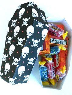 Halloween Coffin Treat Box Cross Bones & Skulls - Halloween Party Favors - Halloween Treat Box - Printable Favors - Instant Download