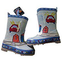 Botas de goma para niños con 40% algodón.Forro color azul claro rojo con  diseño de bomberos pintado a mano e8d4582fe6956