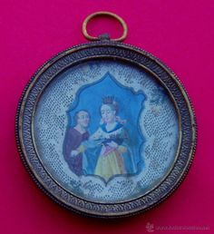 Excelente Medallón Tipo Relicario Medalla Siglo XVIII - XIX SANTA EDUVIGIS Patrona Polonia Lituania. - Foto 1