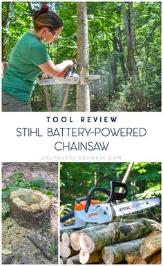 This battery powered chainsaw is lightweight and holds up to the average yard cleanup for a suburban dweller. Get full details and learn how to fell a small tree in one post. Woodworking Tools For Beginners, Diy Woodworking, Small Chainsaw, Battery Powered Chainsaw, Chainsaw Repair, Free Wood Pallets, Wooden Pallet Table, Old Farm Houses, Small Trees
