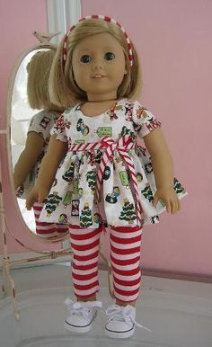 Christmas top and leggings made to fit 18 inch American Girl Doll,red and green by Cat mom Sewing Doll Clothes, Sewing Dolls, Girl Doll Clothes, Doll Clothes Patterns, Clothing Patterns, Girl Dolls, Doll Patterns, Ag Dolls, American Girl Crafts