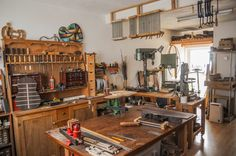 photos of Martin Woodhouse's workshop and some instruments under construction