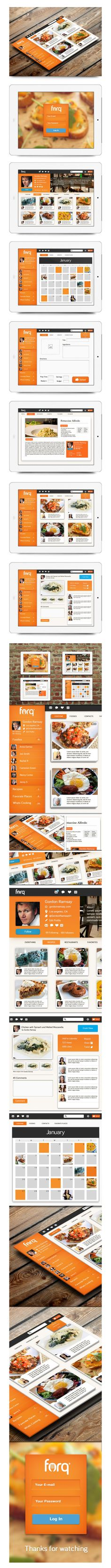FORQ - Food Network App by Isaac Sanchez, via Behance *** Forq is a social network for foodies. Social networks already exist, and so do recipe and food sites, but not the cross-over. Forq will be the coolest mobile app (phone tablet) for foodies that wa Interface Web, User Interface Design, Mobile Ui Design, App Ui Design, Tablet Ui, Design Digital, Mobile App Ui, Ui Design Inspiration, Ui Web