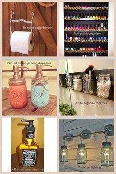 Mason Jar Craft Ideas | Bathroom decor---love the mason jar ideas | Crafty crafts!