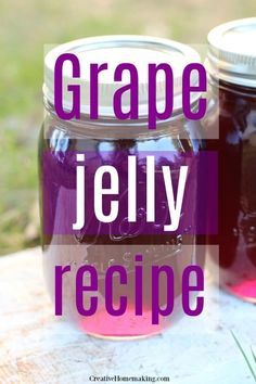Easy recipe for canning homemade grape jelly. White Grape Jelly Recipe, Homemade Grape Jelly, Grape Recipes Canning, Pressure Canning Recipes, Jelly Recipes, Jam Recipes, Pickle Vodka, Baked Pork Chops, Marmalade