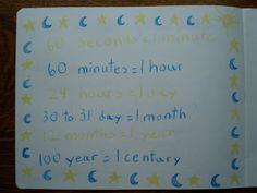 Waldorf ~ 3rd grade ~ Math ~ Measurement ~ Time ~ Equivalents ~ main lesson book