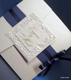 wedding invitation elegant custom embossed silver unique beautiful shimmer