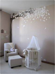 The EXACT colour of my nursery ❤️Neutral Baby Nursery Ideas Bird Nursery, Nursery Room, Nursery Decor, Nursery Tree Mural, Tree Wall Decals, Themed Nursery, Tree Wall Art, Baby Bedroom, Baby Room Decor