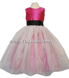 SHOCK PINK AND BLACK SASH Silk Flower Girl Dresses by PEGEEN