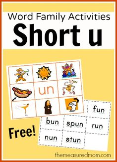 Free short u word family mats with matching word cards.  Laminate and attach Velcro dots, or use as is.