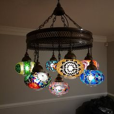 Luxurious, Handmade Mosaic Lights For Dining, Turkish Moroccan Ceiling Light ' Color Burst' Moroccan Chandelier, Moroccan Lighting, Moroccan Lamp, Hanging Chandelier, Hanging Lights, Chandelier Lighting, Turkish Lights, Turkish Lamps, Floor Lanterns