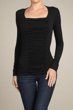 Ruched center panel, square neck tee at J. Nicole.