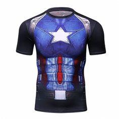 2016Fashion Brand Men Batman t shirt Plus Size Breathable Men Summer High Elastic Men Tights S 2XL Fitness Crossfit t shirt