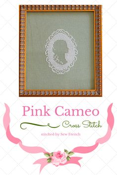 Pink Cameo Cross Stitch ~ Pretty. Shabby Chic. Blush Silk On Sage Green Linen. Embroidery. Handmade. Craft. Cameos.