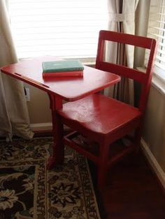 red vintage school desk - for the DI find in my basement