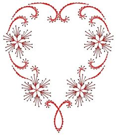 Flowering Heart Swirl Valentine Paper Embroidery Pattern for Greeting Cards