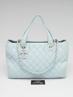 4a394c0b9ff Chanel Blue Quilted Lambskin Leather Shopping Tote Bag - Yoogi s Closet  Chanel Shopping Tote