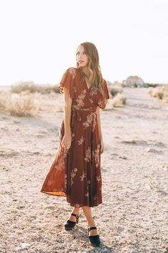 The Beverly Embroidered Wrap Dress in Rust – Piper & Scoot
