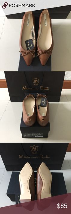 Massimo Dutti Bailarina Punta Lazo❗️SD Impulse buy during vacation. Made in Spain 💯% leather. I should've gotten a half size bigger. Never worn. I can only ship startin OCTOBER 10th. Massimo Dutti Shoes Flats & Loafers