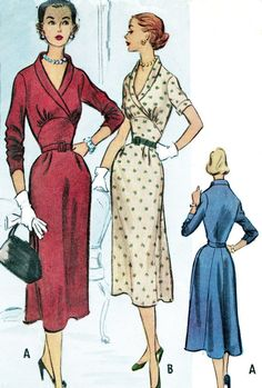 1950s Dress Pattern McCalls 9181 Midriff Gored Skirt Day or Evening Dress Womens Vintage Sewing Pattern Bust 34
