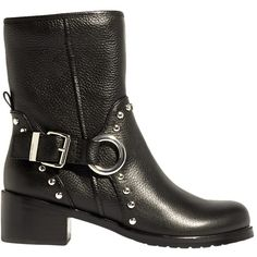 Karen Millen Embellished Block Heeled Biker Boots (15.485 RUB) ❤ liked on Polyvore featuring shoes, boots, ankle booties, black buckle booties, black ankle boots, leather bootie, short black boots and black bootie