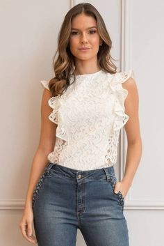 See-Through Back Long Sleeve Lace Top Pull, Casual Chic, Blouse Designs, Casual Looks, Chiffon Tops, Blue Jeans, Blouses For Women, Ideias Fashion, Casual Outfits