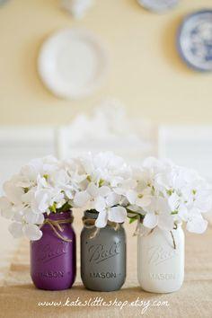 Set of 3 Pint Size Purple, Gray and White Painted Ball Mason Jars. by KatesLittleShop