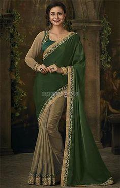 fd95e1d9ba119 Appealing Green-Brown Lycra Half Saree Green Blouse For Engagement