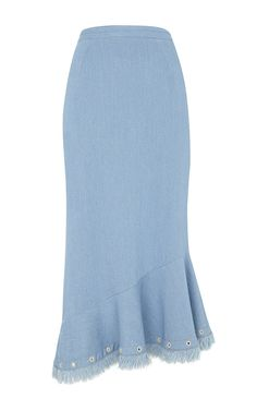 I really like the style of this skirt. Casual but classy, especially the hem. (Grace Denim Trumpet Skirt by SALONI)