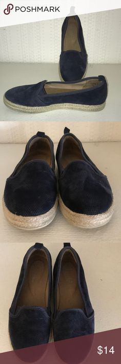 Clark's 8m blue espadrilles loafer shoe suede In good condition used a few times. Navy blue suede slip on espadrilles. Size 8 medium width by Clark's Clarks Shoes Espadrilles
