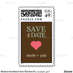 Modern Sweetheart Save The Date Postage Stamp #Weddings #Postage