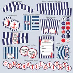 Nautical Theme Party Printables #baby_shower #birthday #party_printables #nautical Shower Party, Baby Shower Parties, Baby Shower Themes, Baby Boy Shower, Nautical Bridal Showers, Nautical Party, Nautical Wedding, Sailor Party, Sailor Theme
