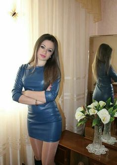 Amateur in sexy blue leather minidress Leather Mini Dress, Leather Dresses, Leather Skirt, Tight Dresses, Sexy Dresses, Leder Outfits, Sexy Latex, Girl Fashion, Womens Fashion