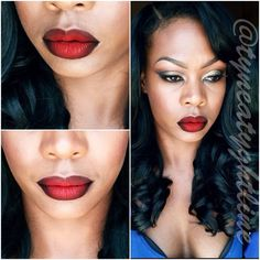 This look features vivid ombre lips achieved using red and black shades. Get to know the essentials in recreating this easy to do ombre lips for your next party.