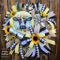 Tulle Wreath, Floral Wreath, Lemon Wreath, Black And White Ribbon, Unique Gifts For Her, Deco Mesh Wreaths, Summer Wreath, Holiday Wreaths, Fabric Flowers