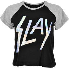 Disturbia Slay 3/4 Length Sleeve Raglan T-Shirt ($24) ❤ liked on Polyvore featuring tops, t-shirts, slogan tees, sleeve t shirt, three quarter length sleeve t shirts, 3/4 length sleeve tops and holographic top