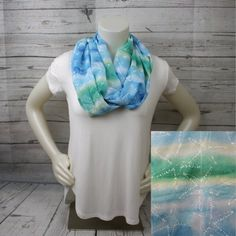 Blue and Green Starfish Infinity Scarf