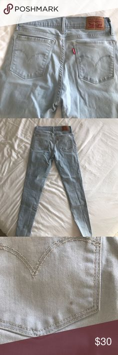 """Levi's Super Skinny 710 - Size 27 Levi's Super Skinny 710 - Size 28, but runs a tad small due to how tight they are. I would recommend someone a 27 to buy them. I'm 5'7"""" and  size 27, they fit like a jegging and are comfortable. Color is a light denim blue. 81% Cotton 17% Polyester 2% Elastane. W28/L30 [Please see pics of back pocket, small dot of something that got on there. see inside, where there is fabric piling, and crotch area where there's slight wear and tear] 😘✌🏽😍🌈🥂 Levi's…"""