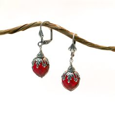 Silver filigree earrings red garnet beads by BelladonnaSF on Etsy