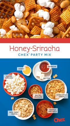 Ready for munching in 15 minutes, this Gluten Free Chex Party Mix recipe is made with a Honey and Sriracha sauce bring a sweet and spicy kick to your favorite snack. What are you waiting for? Get making!
