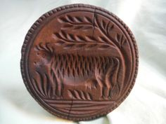 in across x tall (handle) Early Carved PA Dutch COW Wooden Butter Mold Print Stamp Wood Treen Primitive NR Springerle Cookies, Butter Molds, Churning Butter, Chip Carving, Old Farm Equipment, Primitive Furniture, Antique Decor, Wooden Kitchen, Hand Carved