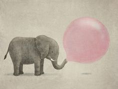 Inspiring image elephant, pink, cutiee, adorable, bubble by korshun - Resolution - Find the image to your taste Image Elephant, Elephant Love, Elephant Art, Elephant Balloon, Elephant Doodle, Happy Elephant, Giraffe, Elephant Illustration, Illustration Art