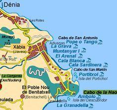 Map Of Javea And Beaches Moraira Javea Spain Spain Holidays Spain
