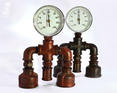 Industrial Style Color Distressed Thermometer by MadForCraftGR