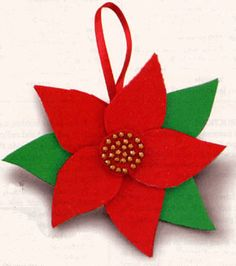 easy kids christmas crafts | Poinsettia Christmas Ornament | FaveCrafts.com
