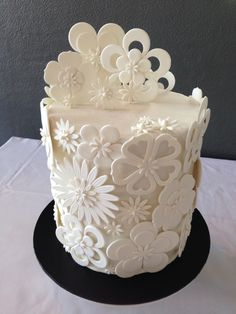 White Cut Out Flower Wedding Cake